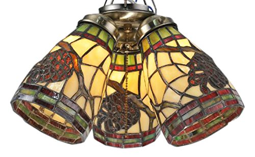 Meyda Tiffany 98994 Pinecone Dome Fan Light Shade Ceiling Fixture, 5