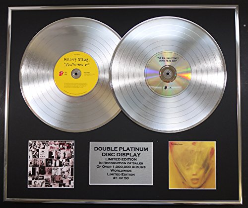 THE ROLLING STONES/DOUBLE CD PLATINUM RECORD DISPLAY/LTD. EDITION/COA/EXILE ON MAIN ST & GOATS HEAD SOUP