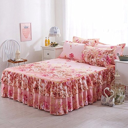 (BERTERI Cotton Elegant Queen Size Bed Skirt Luxury Pink Flowers Print Wedding Decoration Faldones Fashion Modern Bedding Decoration Set with 2 Pillow Case)