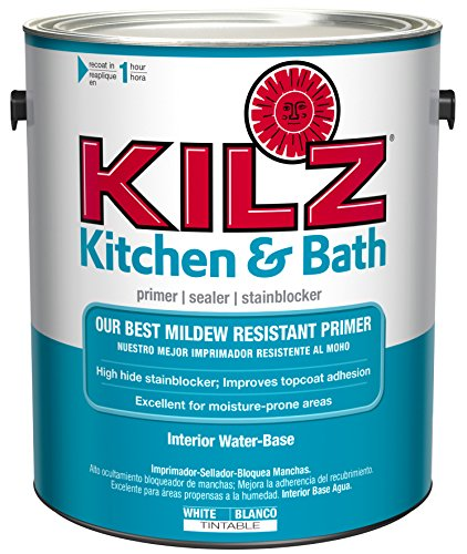 Kilz Latex Primer (KILZ  Kitchen & Bath Interior Latex Primer/Sealer/Stain Blocker with Mildew-Resistant Finish, White, 1)