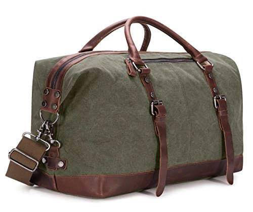 BAOSHA Vintage Segeltuch Canvas PU Leder Unisex Handgepäck Reisetasche Sporttasche Weekender Tasche für Kurze Reise am Wochenend Urlaub Arbeitstasche 40 Liter Aktualisiert (Grün)