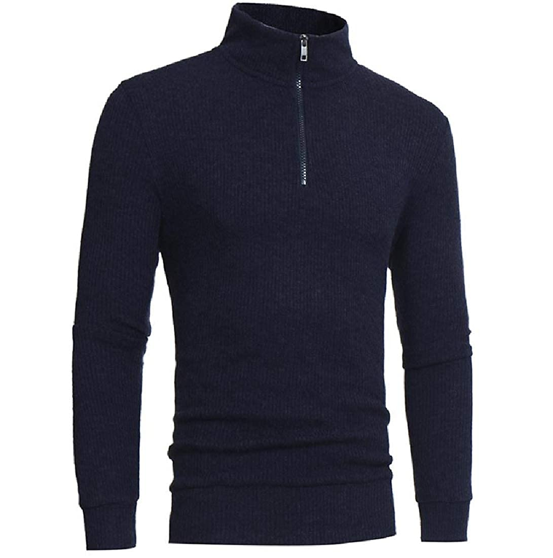 Abetteric Mens Solid-Colored High Neck Zip Up Tops Knit Pullover Sweaters