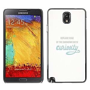 Be Good Phone Accessory // Dura Cáscara cubierta Protectora Caso Carcasa Funda de Protección para Samsung Note 3 N9000 N9002 N9005 // Curiosity Exploration Blue Inspiring Text Motiva