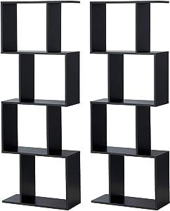 Giantex 4 Tier Bookshelf S Shaped Bookcase Set of 2, Wooden Display Decor Furniture, Free Standing Industrial Storage Rack for Living Room Bedroom Office, Modern 4 Shelf Bookcase (Black, 2)