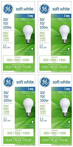 GE Lighting 97493 30-Watt - 70-Watt - 100-Watt A21 3-Way, Soft White, 4-Pack