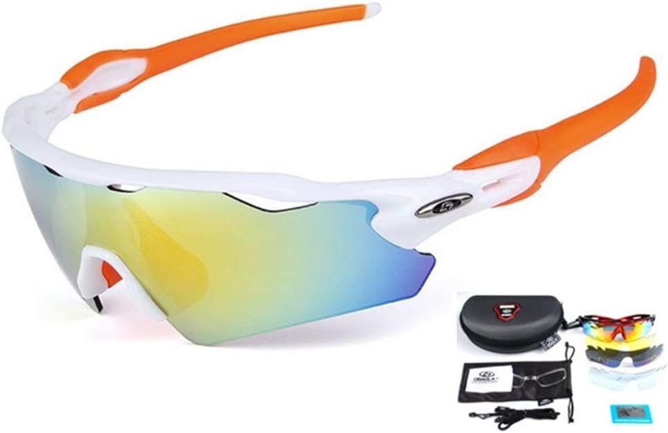 Wonzone Polarized Sports Sunglasses UV400 with 5 Interchangeable Lenes for Men Women Cycling Running Driving Fishing Golf Baseball Glasses