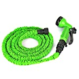 Yozoo Deluxe Latex Flexible Expandable Magic Garden Water Hose with 7 Functions Spray Nozzle and Shut-off Valve-green 100ft