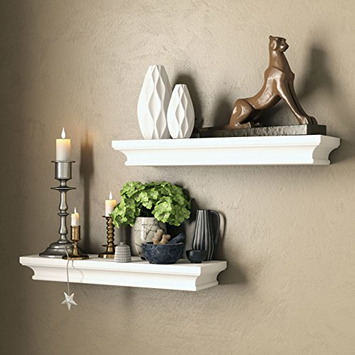 Set of 2 Traditional Wall Floading Shelf Mantle White for Home and Office Decorative Molding Style for Storage Display Ledge Concealed Mount Bracket Buyer Receives 2 Shelves