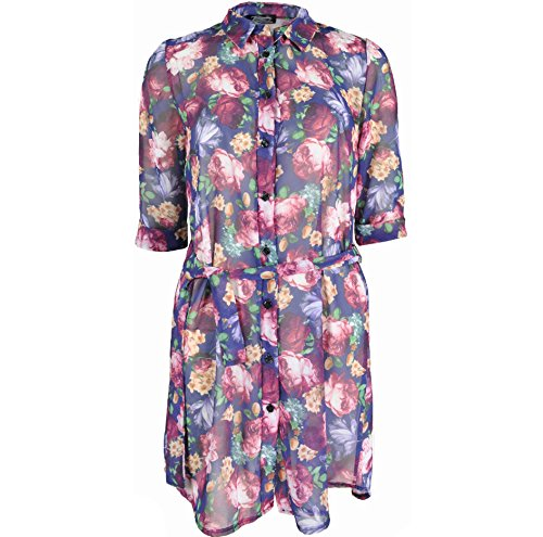 Re Tech UK - Vestido - Manga Corta - para mujer Dark Purple / Flowers