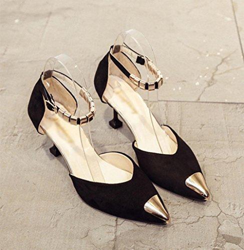 Mujeres de las sandalias de los zapatos ocasionales salvajes zapatos de tacón alto señalado transpirables Black