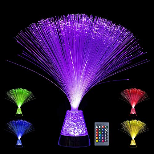 Playlearn Fiber Optic Lamp Color Changing Crystal Base – 4 Colours – 13 inch Mood Novelty Lamp (with Remote)