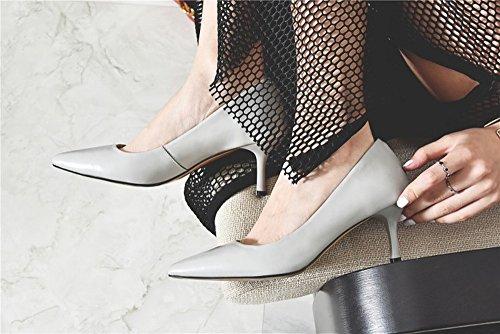 Talon Couleur Pointus avec Nude Chaussures H Tempérament Souliers Chaussures C Simples Été en Ol D'Été avec amp;H Peau HH de Haut Mouton de SxS4qwRT