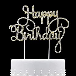 Happy Birthday Rhinestone Cake Topper, Golden,For Birthday Party Decoration. (Happy Birthday)