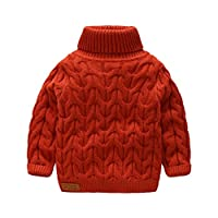SPRMAG Little Boys Long Sleeve Turtleneck Sweater Pullover Solid Color Cable Wool Knit Jumper
