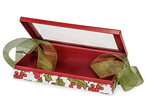 Christmas Presentation Boxes - Bulk Holly Berry Tidings Single Layer (Tidings Ribbon)