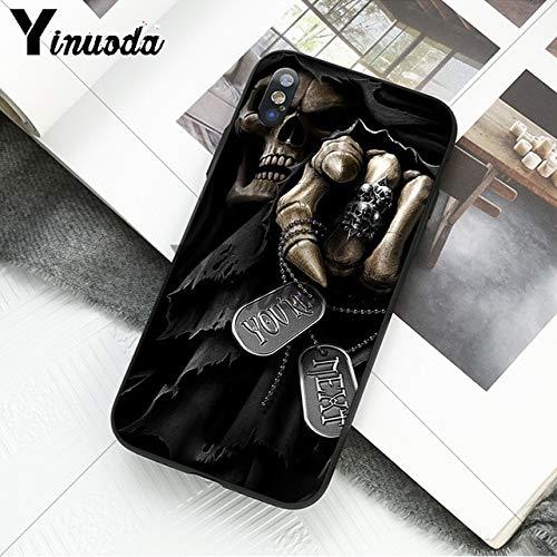 MISC Black Grey Grim Reaper iPhone 8 Case White Gray Skull Themed 7 Cover Skeleton Bones Skulls Undead Zombie Biker Creepy Warrior Beast Ghoul Dark Scythe, Plastic