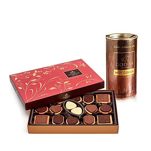 Godiva Chocolate Biscuits (Godiva Chocolatier Dark Chocolate Hot Cocoa & Chocolate Biscuit Gift Set, Assorted Biscuits + Dark Chocolate Cocoa, 23.9 Ounce)