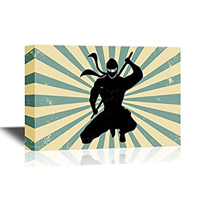 Canvas Wall Art - Ninja with a Sword - Gallery Wrap Modern Home Art | Ready to Hang - 12x18 inches