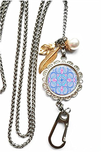 A106 Glasses (RhyNSky Floral Paisley Flower Mandala Chain Lanyard Necklace Bracelet Keychain Eyeglass Holder for ID Card Name Tag Badge Holder with Clasp, C106)