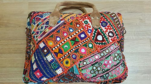 Top handle HAND EMBROIDERED shoulder bag, Cross Body Bag, Weekend Bag, Baby Bag, Laptop Bag by Savshan