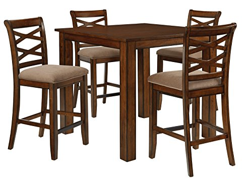 (Standard Furniture Redondo Counter Height Table and Four Chairs Set, Cherry Brown)