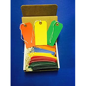 """100 Tags 4 3/4"""" x 2 3/8"""" Size 5 Colored Inventory Shipping Hang Tag with String by Gitway"""