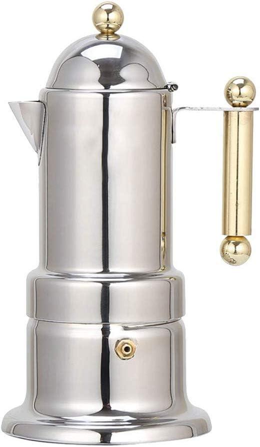 FenRui - Moka Pot de Acero Inoxidable, cafetera Italiana de café Espresso, con Sistema de filtración de