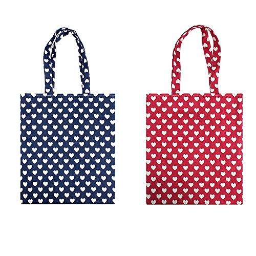 Oath_song Women's Cute Heart Pattern Canvas Tote Shopping Bag (red-open) - Heart Tote Bag
