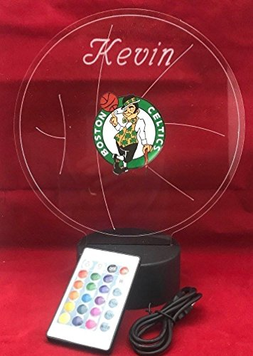 Celtics Lamp (Boston Beautiful Handmade Acrylic Personalized Celtics NBA Basketball Light Up Light Lamp LED Lamp, Our Newest Feature - It's WOW, With Remote,16 Color Options, Dimmer, Free Engraved, Great Gift)