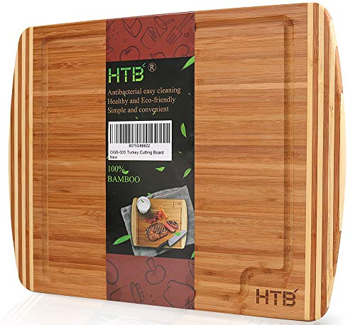 (EXTRA LARGE Bamboo Thick Cutting Board With Juice Groove, 17.5 x 13.8 Kitchen Chopping Board for Meat Vegetable and Turkey, Reversible Serving Board By HTB)