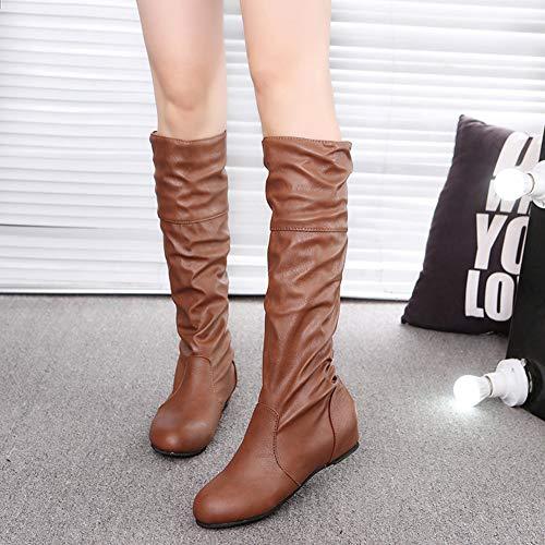Slouch Bottes Plates Aux Femmes Air Plein Chaussures Wealsex Genou Au D'hiver Pour En Chaudes Western Mode Cuir Marron wPxqqB58Z