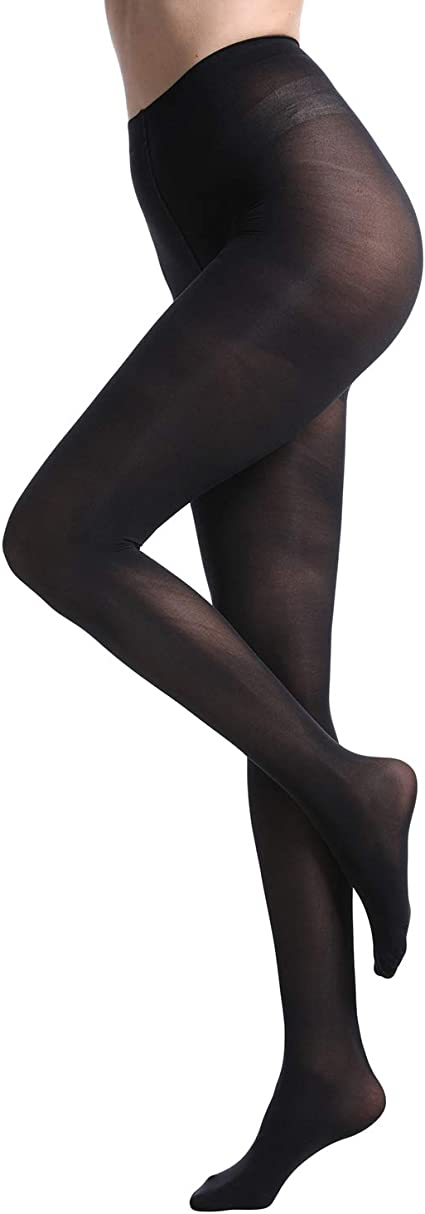 Womens 80 Denier Soft Semi Opaque Solid Color Footed Pantyhose Tights