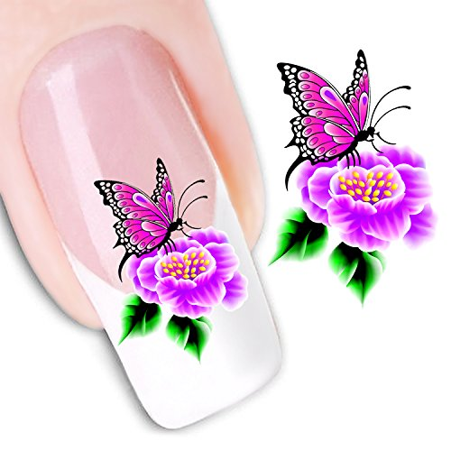 Ottery Beautiful Water Transfers Decals Design Pink Butterfly Flowers Nail Art Decoration Nail Stickers Nail Tips
