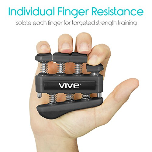 Finger Strengthener by Vive (3 Pack) Digit Exerciser Hand Grip Equipment for Guitar, Musicians, Rock Climbing & Therapy Gripper with Exercise Guide for Strengthening Muscles