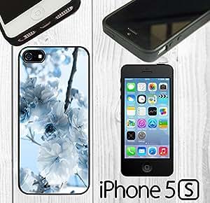 White Autumn Flower Custom made Case/Cover/Skin FOR iPhone 5/5s -Black- Rubber Case