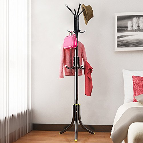 Do4U Metal Coat Rack Free Standing Display Hall Tree with 3 Tiers 12 Hooks Hat Jacket Hanger Holder (Athens Black) ()