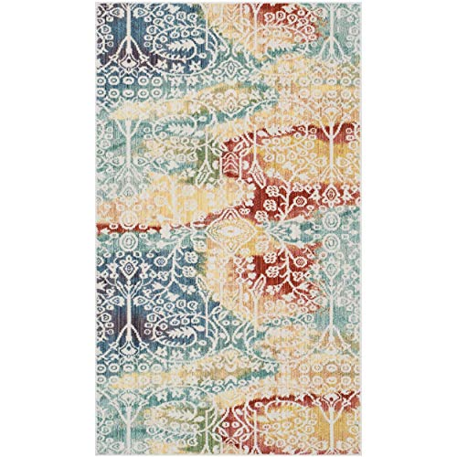Safavieh Mystique Collection MYS926T Vintage Watercolor Blue and Rust Distressed Area Rug (3