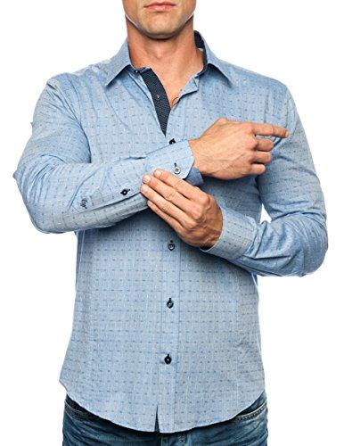 Michael & David Men's Casual Fashion Slim Fit L/S Dress Shirt Blue 2XL MD498