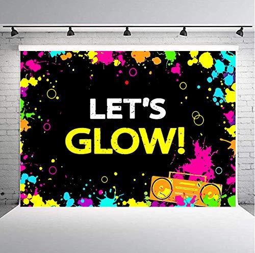 KSZUT 7x5ft Colorful Glow Neon Party Photography Backdrop