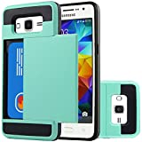 Galaxy Grand Prime Case,Sophmy Wallet Case Anti-scratch Protective Shell Shockproof Rubber Bumper Cover Card Slot Holder for Samsung Galaxy Grand Prime (mint green)