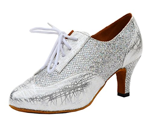 Glitter up Toe Dance Synthetic Closed Salsa Latin Tango Women's TDA Modern Shoes Ballroom Lace Silver xIwAUqqXH