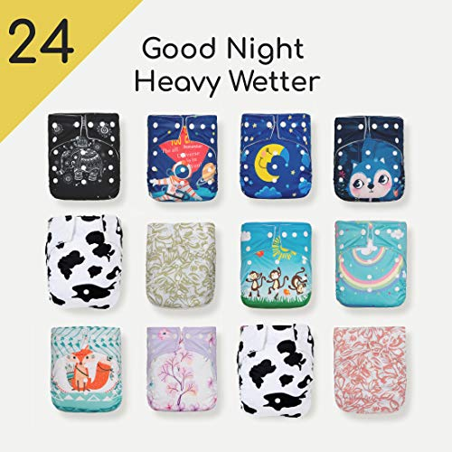 24 Kawaii Baby Goodnight Heavy Wetter OS Cloth Diapers + 48 Large Inserts|Best Overnight Diaper| Reuseable Diapers| Diaper Inserts| for boy and Girl | Easy use and Very Soft | Machine Washable (Best Cloth Diaper Inserts For Heavy Wetters)