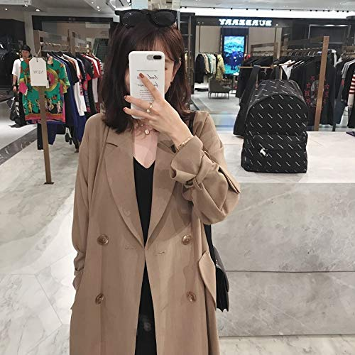 Slim Adult length breasted Gabardina Party Student xs Long Coat Mujer Jacket Xs Dwyj Mid Travel Cardigan Windbreaker Double Para qxFgnwf