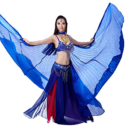 [Dance Fairy Silk Belly Dance Isis Wings with Sticks,Dark Blue] (Dark Fairy Wings Costume)
