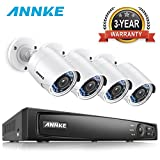 ANNKE FULL HD 1080p Outdoor Security Camera System H.264+ HD-TVI DVR and (4) 2MP 1920TVL Weatherproof Bullet Cameras, 100ft Night Vision, 1TB DVR Storage, Convenient Email Alert with Images