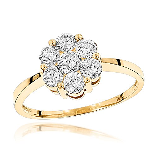 Stone Cluster Ring (Luxurman 14K 7 Stone Ladies Natural 1.1 Ctw Diamond Cluster Ring For Her (Yellow Gold Size 7))