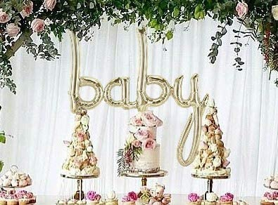 "Birthday Giant 34/"" /""BABY/"" White Gold Script Foil Balloon 34 inch Foil Balloon"