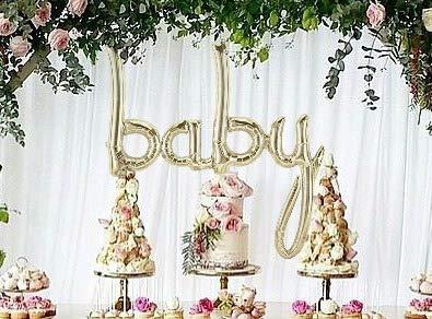 Baby Balloon White Gold Script - Jumbo 34