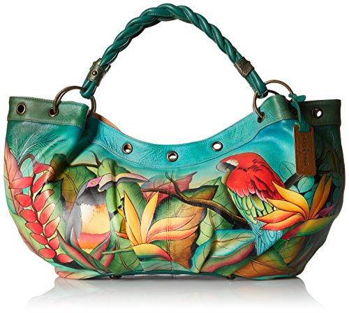 Anuschka Handpainted Leather Braided Handle Large Ruched Hobo Tropical Bliss
