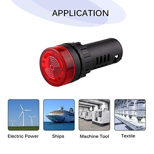 Freebily Lot de 3 Rouge Lumière Voyant LED indicateur Flash Universel Voyants d'alarme avec Buzzer pour Signal d'instruction Prévision Signal d'accident etc